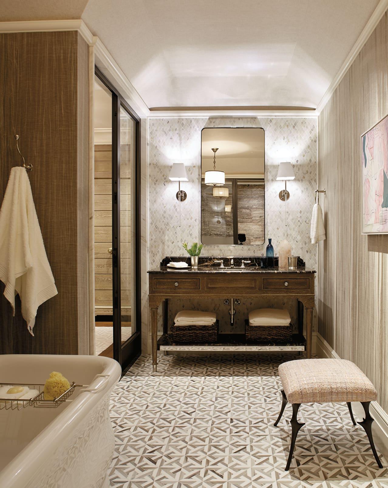 Bathroom with textured floor and walls