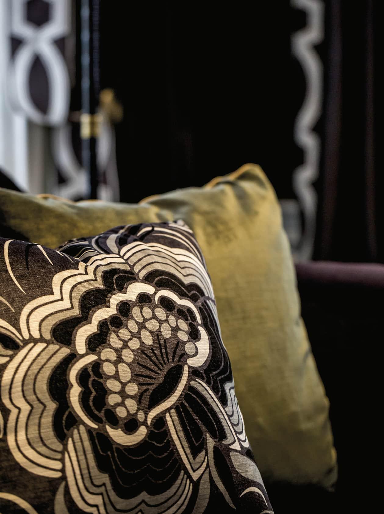 Closeup of sofa pillows