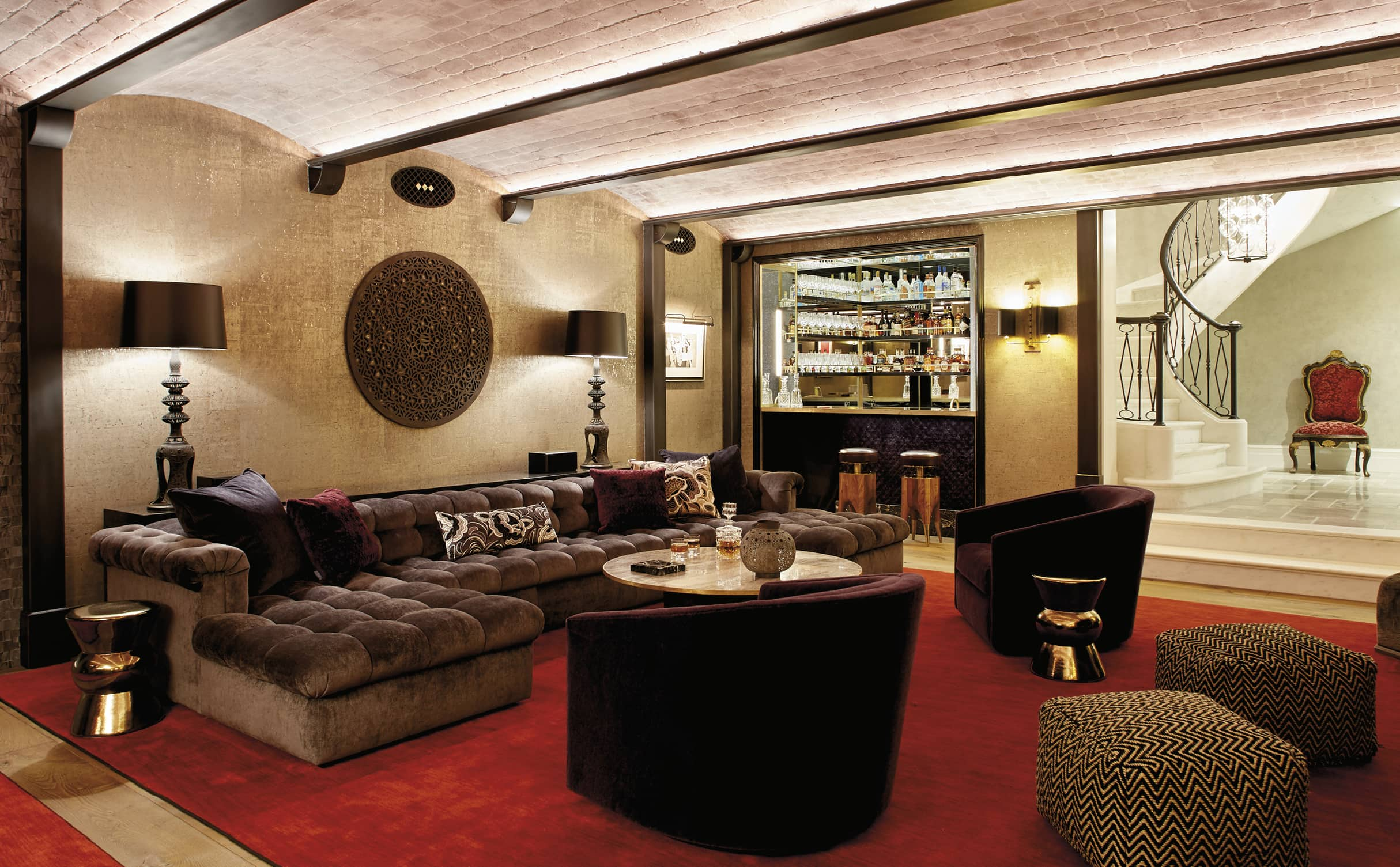 Bar area with a brick ceiling and mod furniture