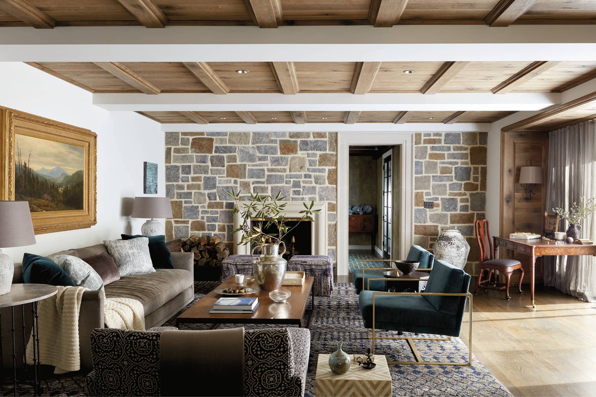 Sitting area with a stone wall