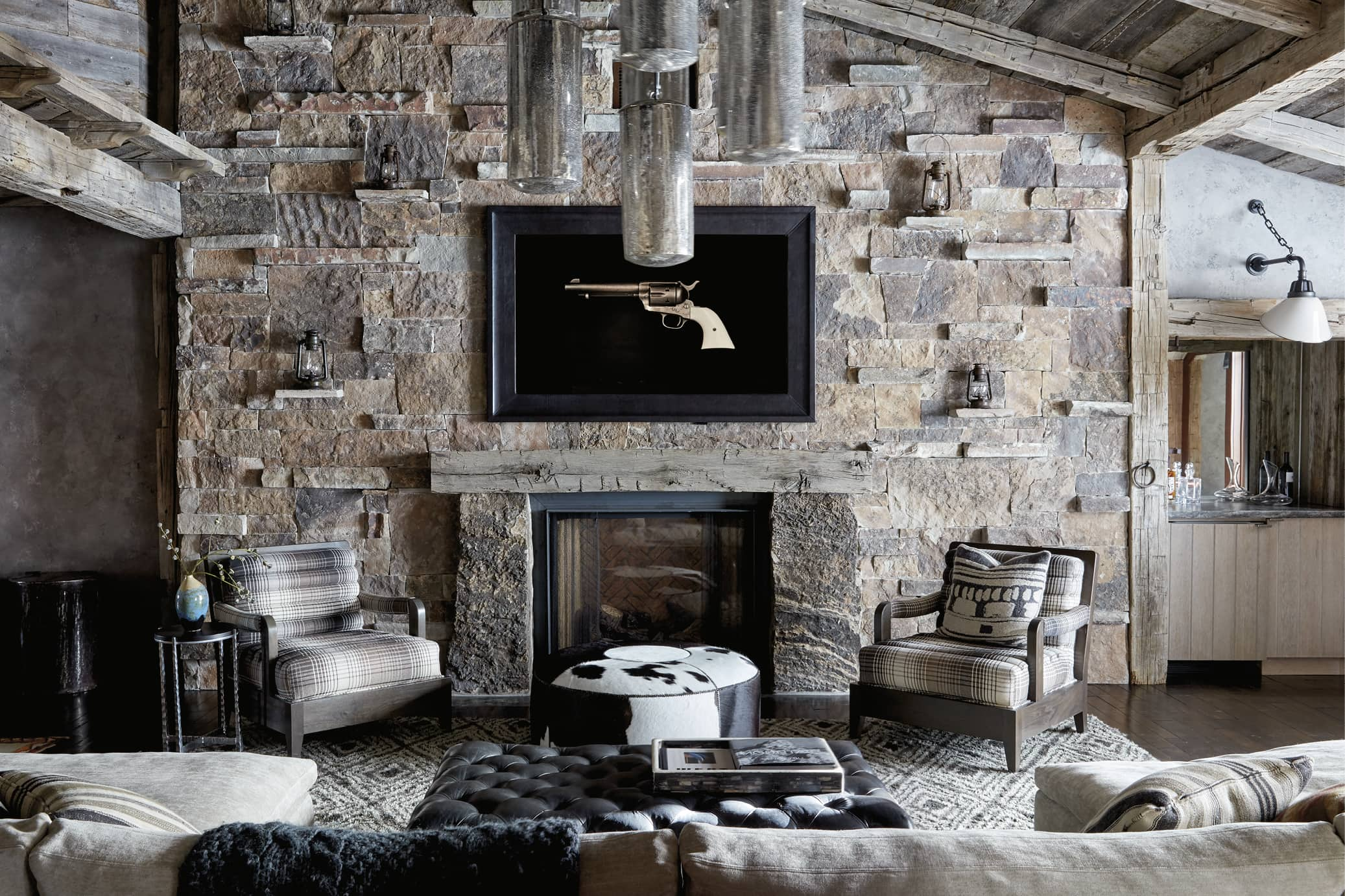 Sitting area with stone fireplace