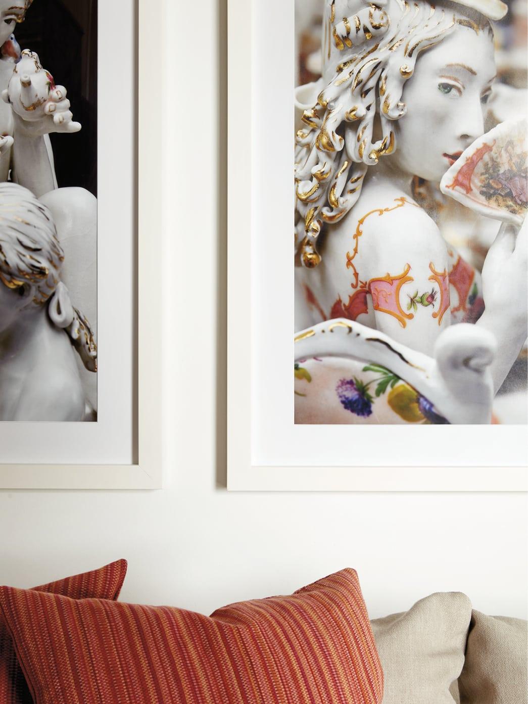 Closeup of photos on a wall