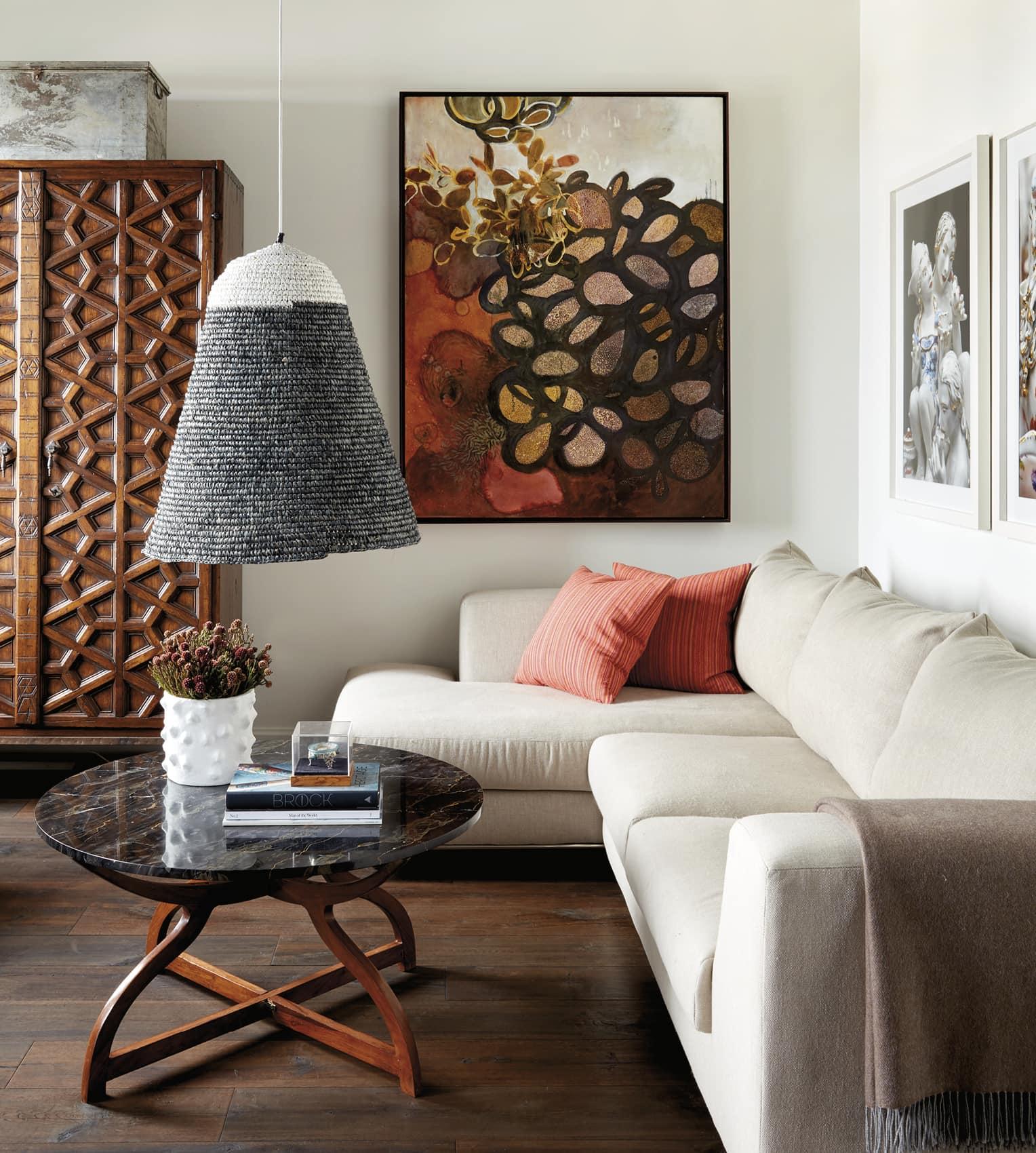 Comfortable sofa and interesting decor