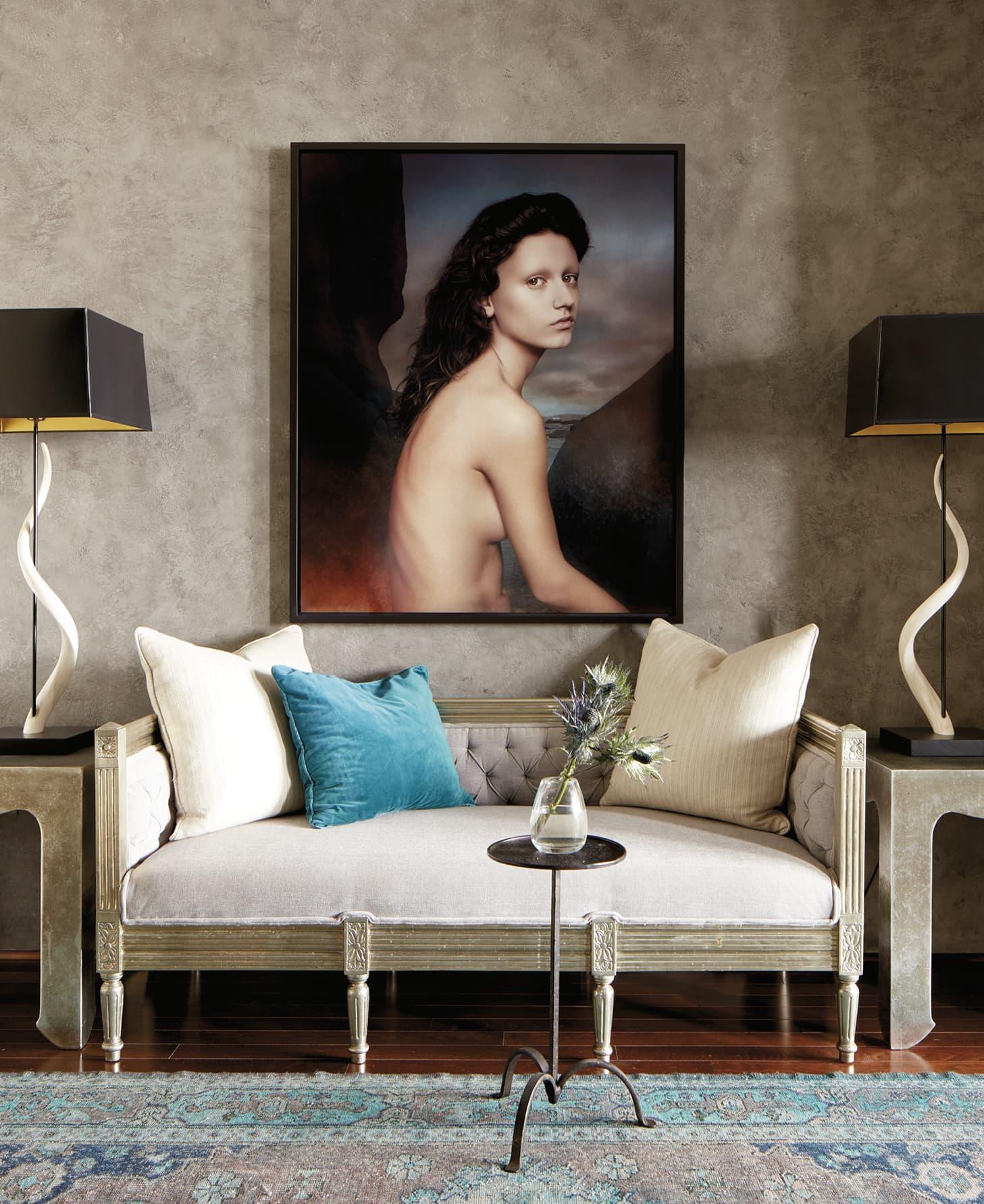 Arty portrait over a sofa