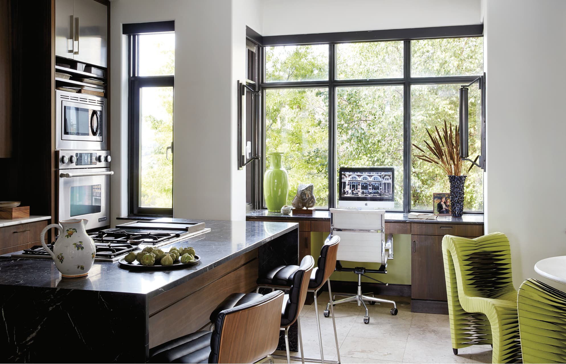 Kitchen with large windows