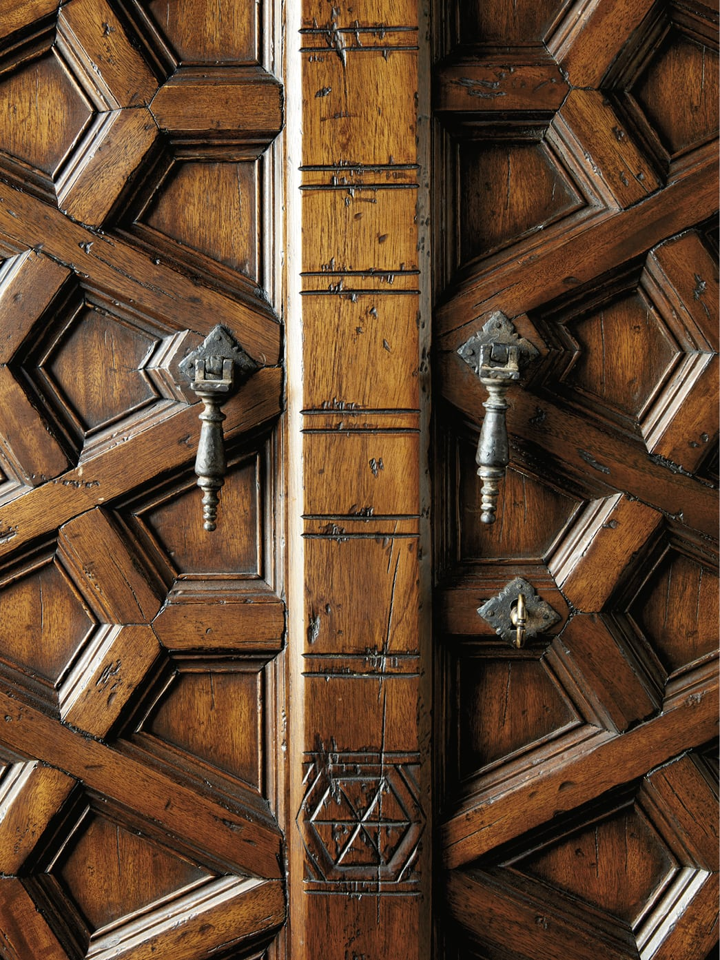 Detail of an ornately carved door
