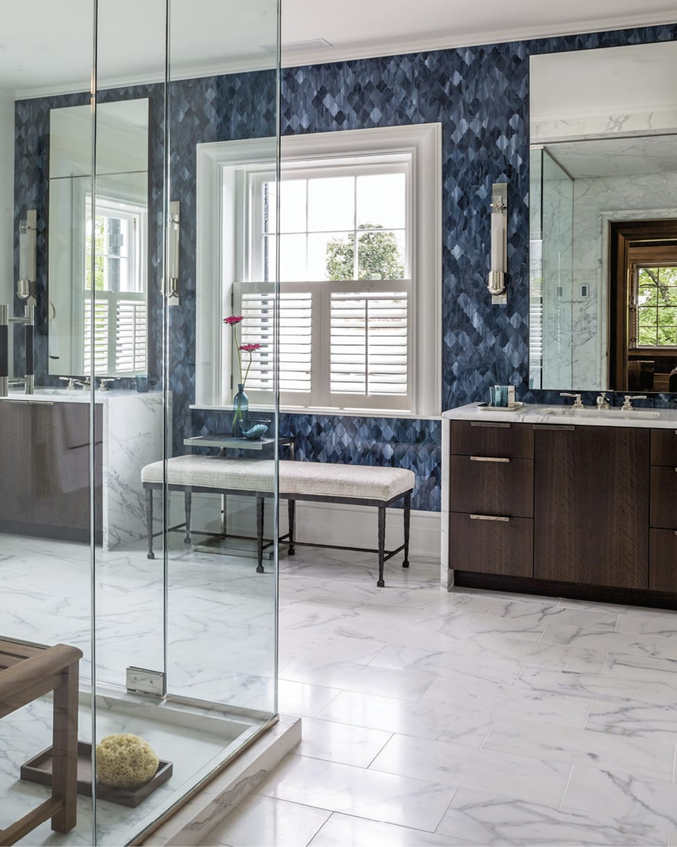 Bathroom with blue wall and white marble floor