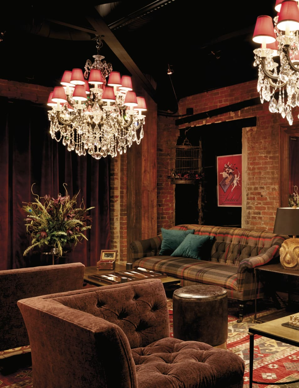 Sitting area with elaborate crystal chandeliers