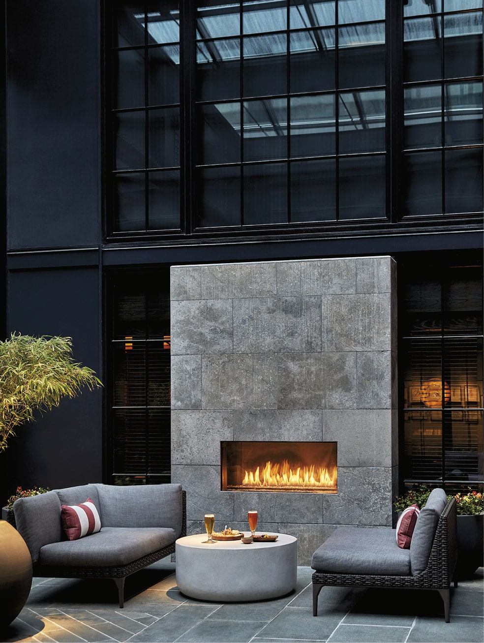 Outdoor fireplace with comfortable seating