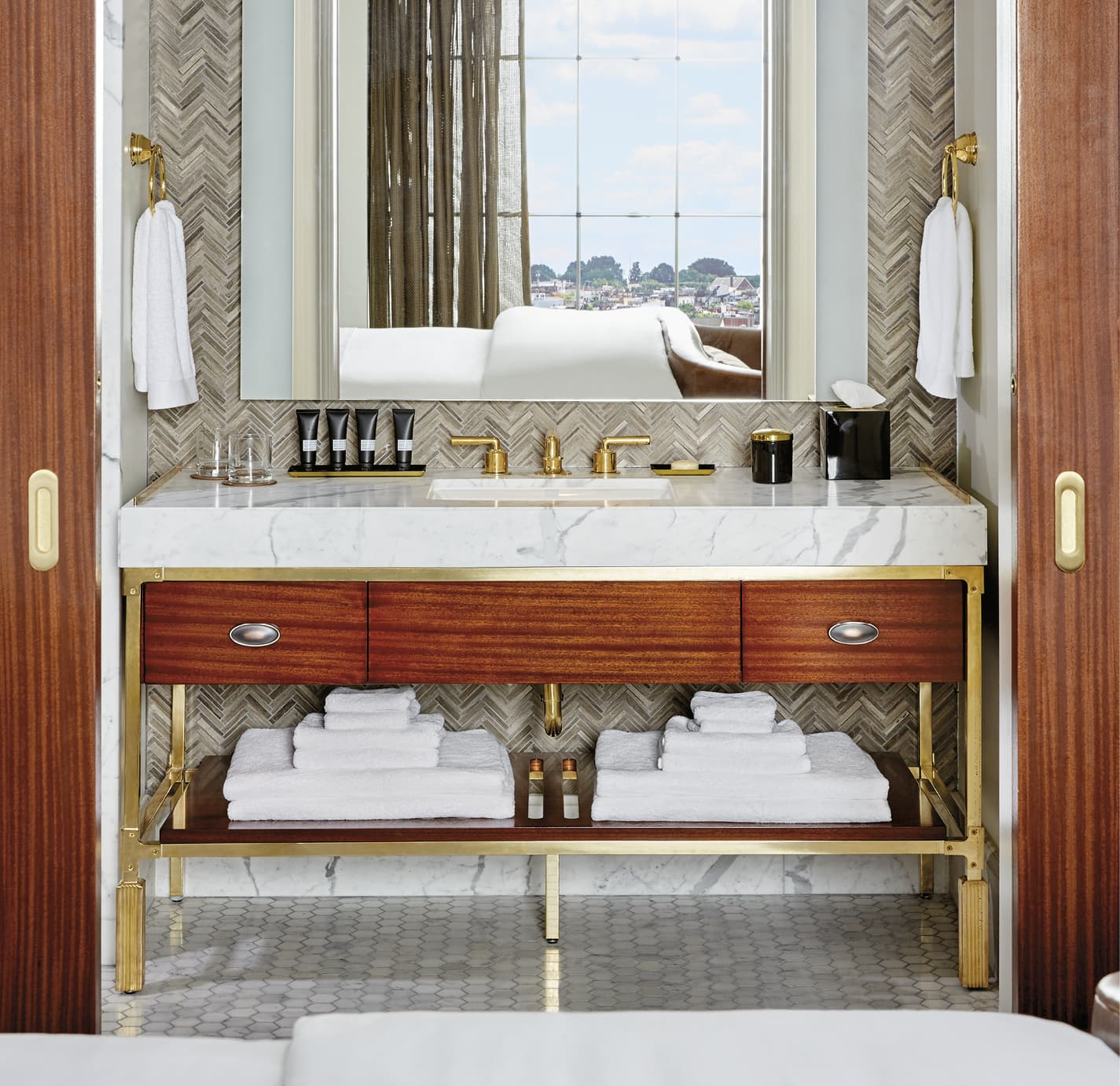 Bathroom vanity with textured walls