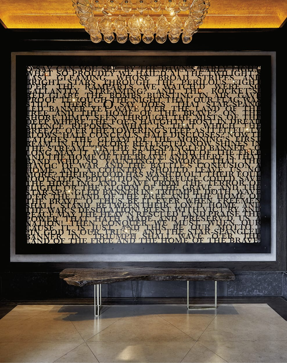 Wall art that contains the lyrics to the USA national anthem