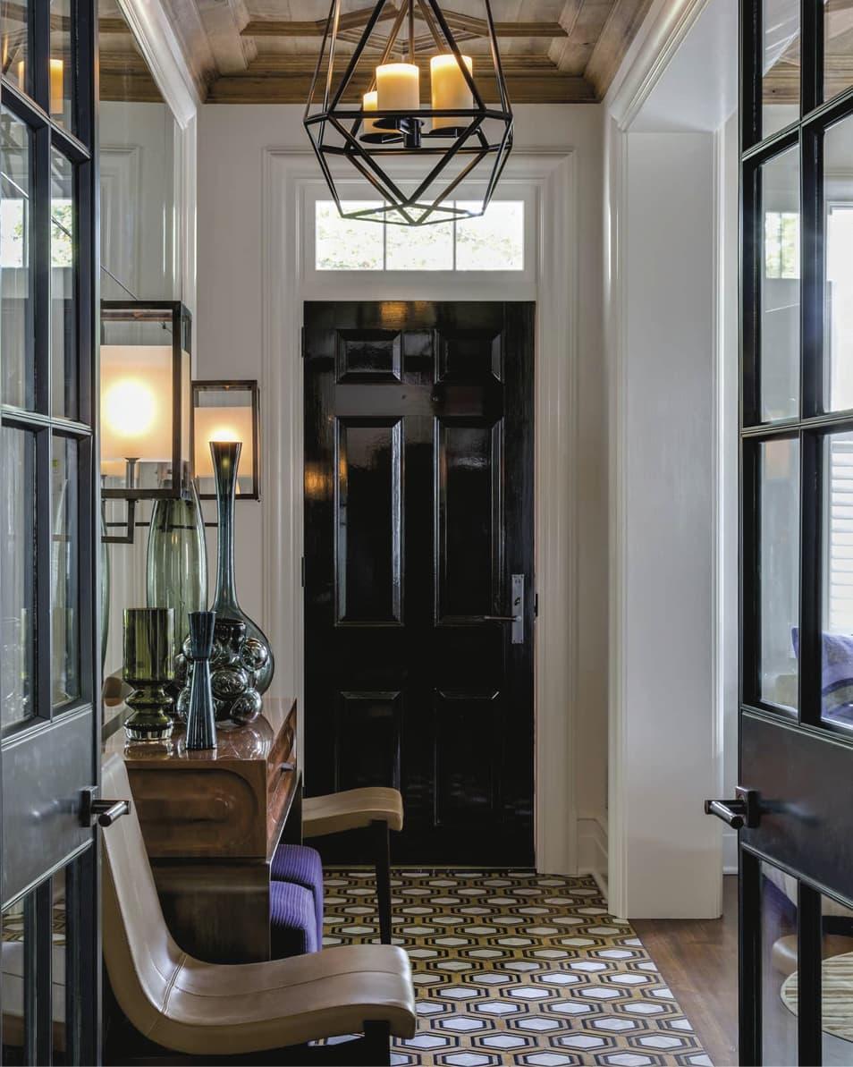 Foyer with black door